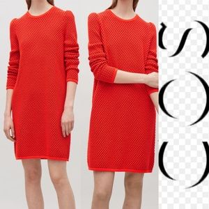 COS Red Coral Raised Knit Casual Sweater Dress